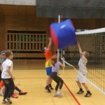 Dzieci bawią się w siatkówke na urodzinach